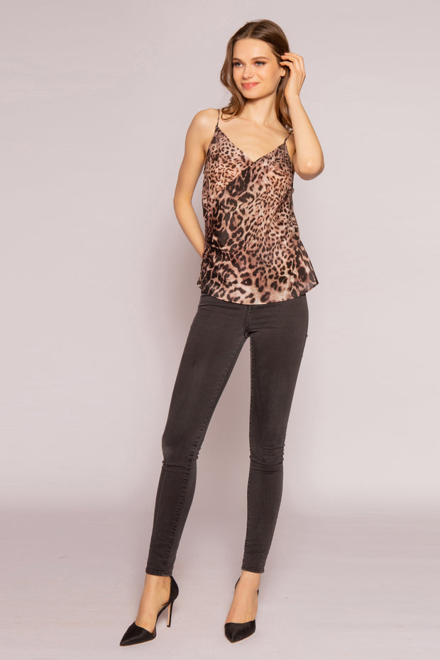 Brown Leopard Silk Cami Top by Lavender Brown 001