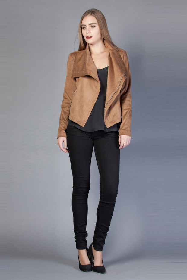 Drape Style Vegan Suede Jacket by Lavender Brown - 1