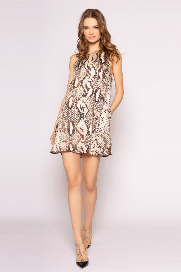 Coco Brown Sleeveless Snakeskin Shift Dress by Lavender Brown 001