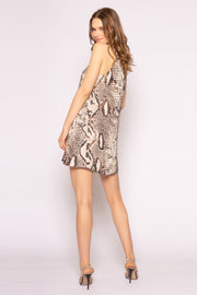 Coco Brown Sleeveless Snakeskin Shift Dress by Lavender Brown 002