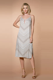 Nude Chevron Printed Midi Dress by Lavender Brown 001