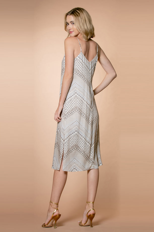 Nude Chevron Printed Midi Dress by Lavender Brown 002
