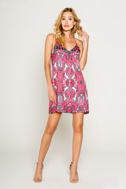 PINK ETHNIC PRINTED CAMI DRESS