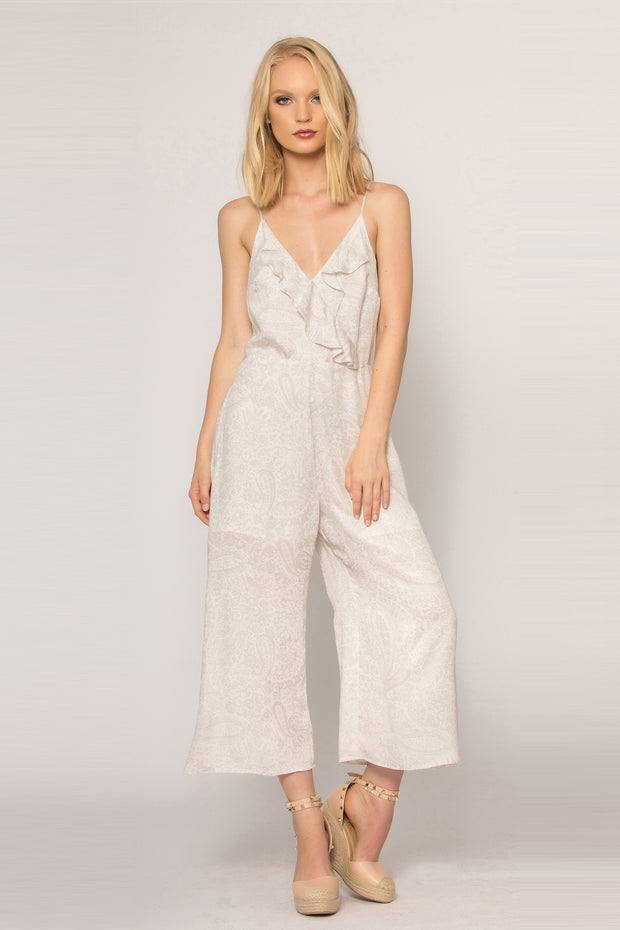 Ivory Backless Floral Jumpsuit by Lavender Brown 001