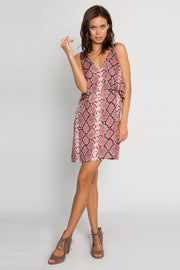 Magenta Backless Snakeskin Overlay Dress by Lavender Brown 001