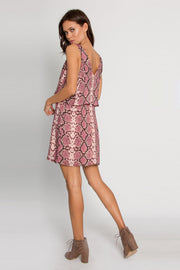 Magenta Backless Snakeskin Overlay Dress by Lavender Brown 002