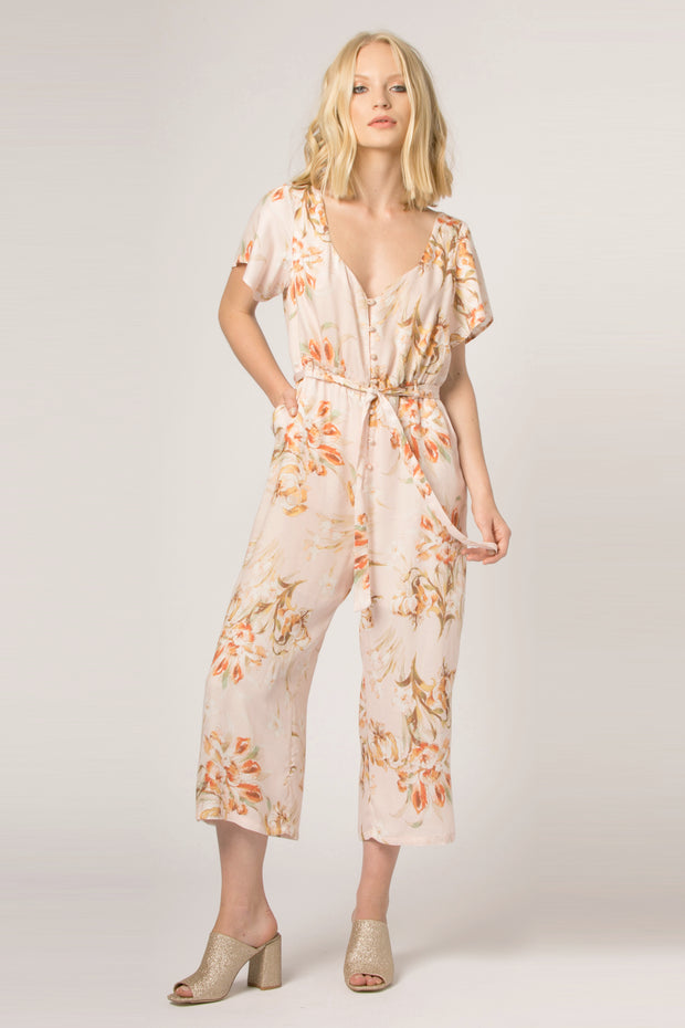Blush Short Sleeve Floral Jumpsuit by Lavender Brown 001