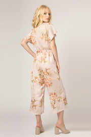 Blush Short Sleeve Floral Jumpsuit by Lavender Brown 002