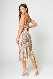 ORANGE YELLOW SNAKE PRINTED MIDI BIAS DRESS-DRESSES-Lavender Brown