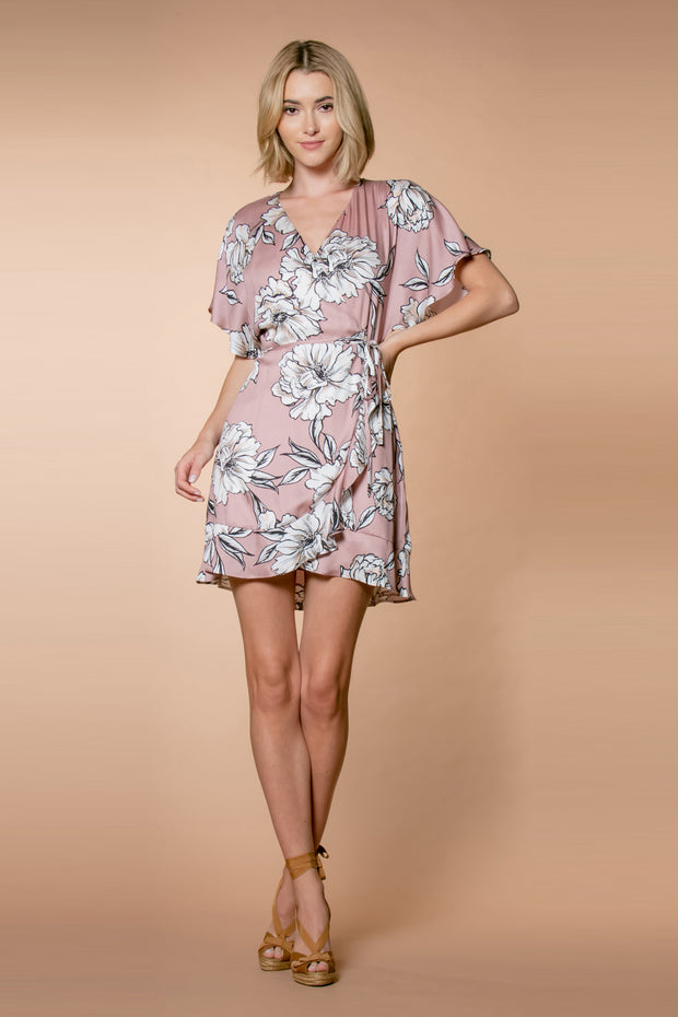 Mauve Short Sleeve Floral Wrap Dress by Lavender Brown 001