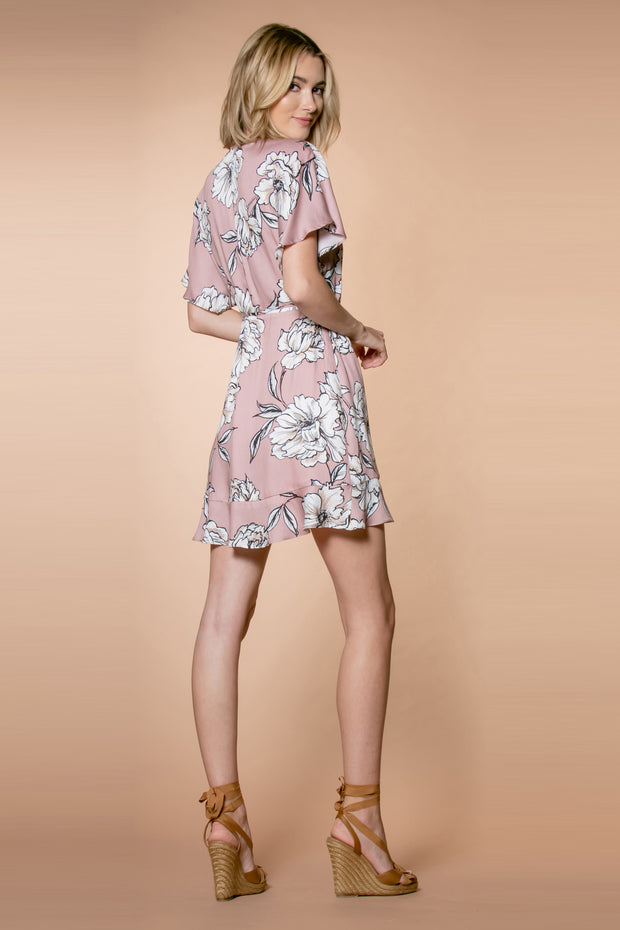 Mauve Short Sleeve Floral Wrap Dress by Lavender Brown 002