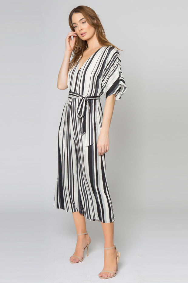 Ivory Striped Short Sleeve Jumpsuit by Lavender Brown 001
