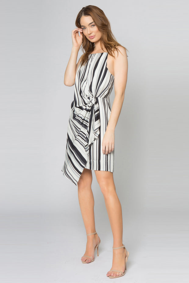 Ivory Striped Drape Tie Front Dress by Lavender Brown 001