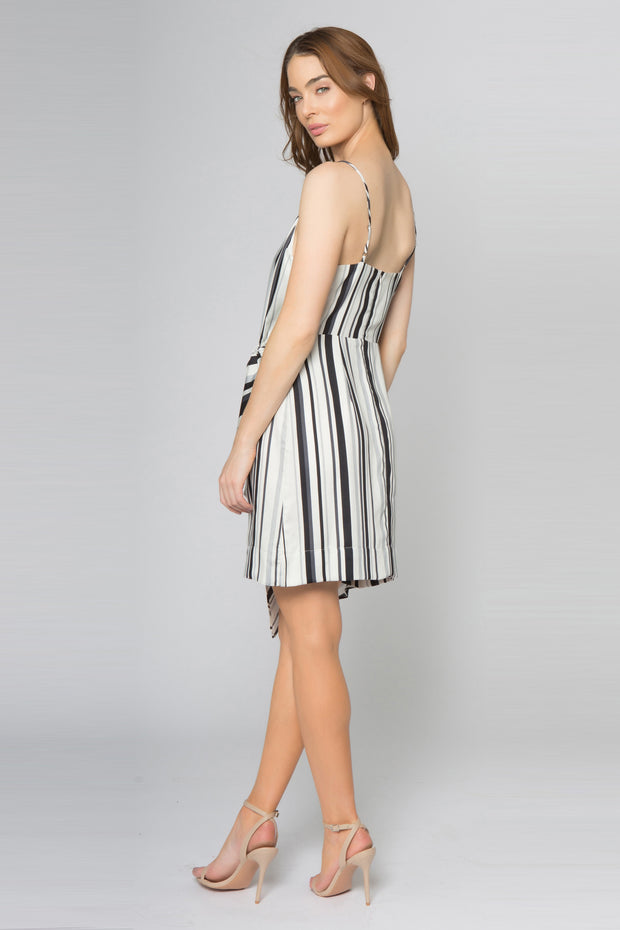 Ivory Striped Drape Tie Front Dress by Lavender Brown 002