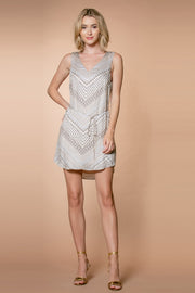 Nude Chevron Printed Mini Tank Dress by Lavender Brown 001
