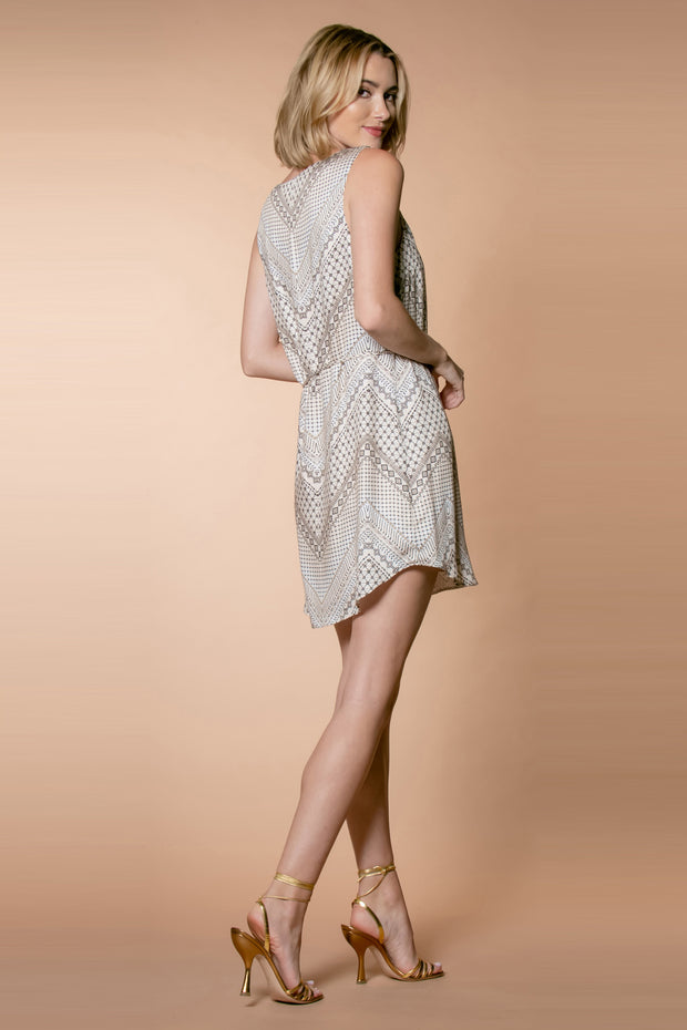Nude Chevron Printed Mini Tank Dress by Lavender Brown 002