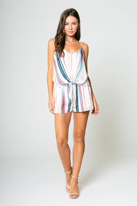 WATER COLOR PRINT TIE FRONT ROMPER-Rompers-Lavender Brown