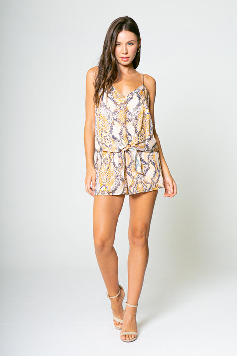 ORANGE YELLOW SNAKE TIE FRONT ROMPERS-Rompers-Lavender Brown