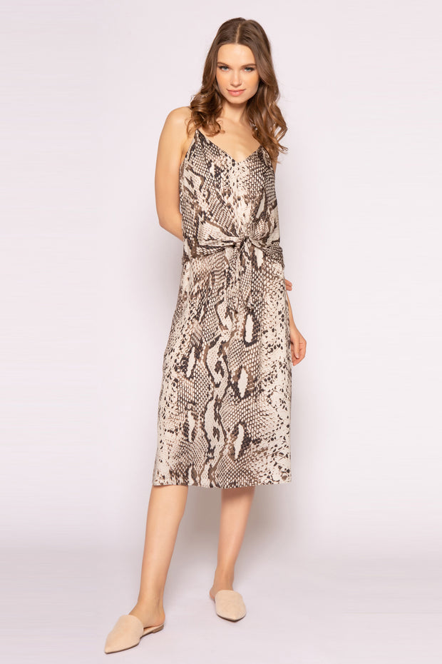 Coco Brown Sleeveless Snakeskin Midi Dress 001