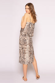 Coco Brown Sleeveless Snakeskin Midi Dress 002