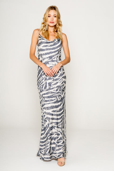 Netural Zebra Printed Cawl Neck Bias Maxi Dress 1