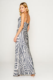 Netural Zebra Printed Cawl Neck Bias Maxi Dress 2