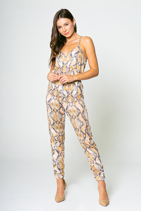 ORANGE YELLOW SNAKE CAMI JUMPSUIT-JUMPSUITS-Lavender Brown
