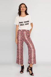 Magenta Snakeskin Pull-On Pants by Lavender Brown 001
