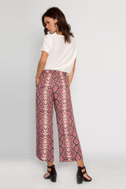 Magenta Snakeskin Pull-On Pants by Lavender Brown 002