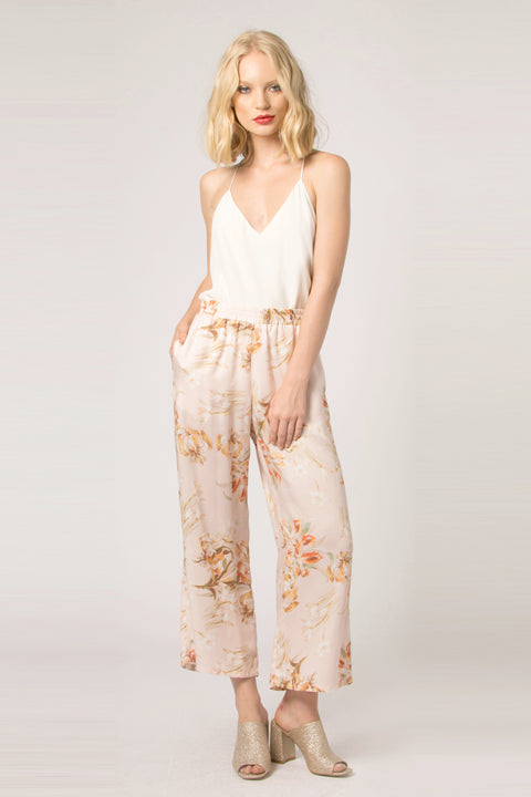 Blush High Waist Floral Pull-On Pants by Lavender Brown 001
