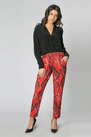 Red Snakeskin Pull-On Skinny Pants by Lavender Brown 001