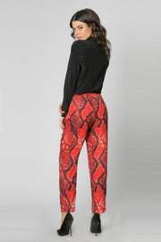 Red Snakeskin Pull-On Skinny Pants by Lavender Brown 002