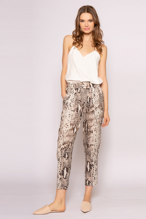 Coco Brown Skinny Snakeskin Print Pants by Lavender Brown 001