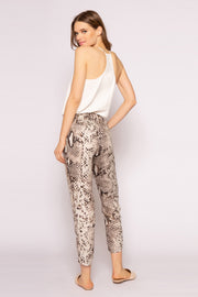 Coco Brown Skinny Snakeskin Print Pants by Lavender Brown 002