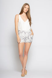 Baby Blue Snakeskin Pull-On Shorts by Lavender Brown 001