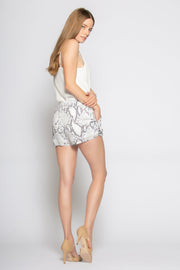 Baby Blue Snakeskin Pull-On Shorts by Lavender Brown 002