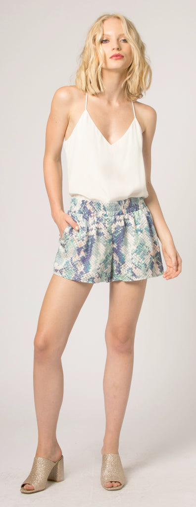 Blue Snake Print Easy Fit Shorts by Lavender Brown - 1