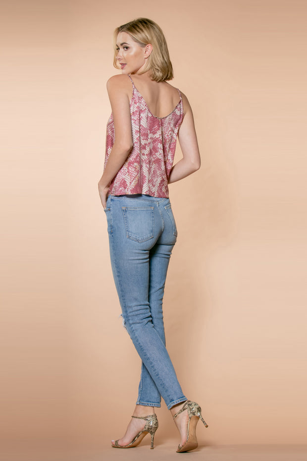 Mauve Tie-Waist Snakeskin Snap Front Tank Top by Lavender Brown 002