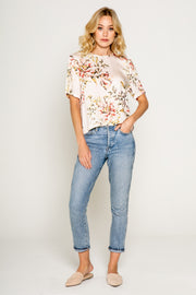FLORAL PRINTED CROP SHORT SLEEVE SILKY TOP