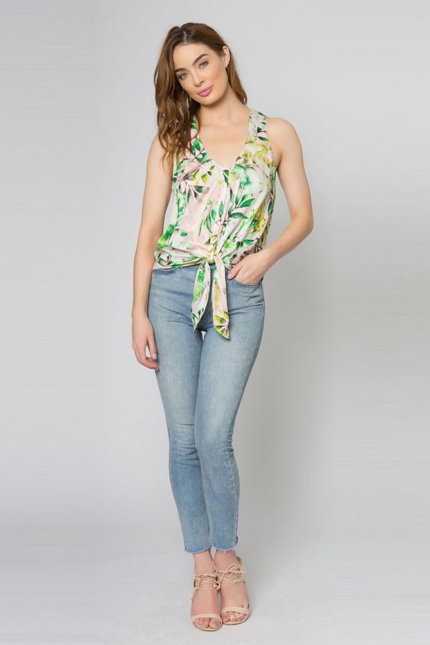 Green Tie Waist Floral Cami Tank Top by Lavender Brown 001