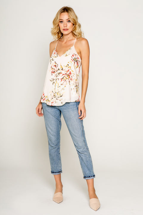 FLORAL PRINTED SILKY CAMI