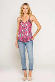 PINK ETHNIC PRINTED CAMI-Tops-Lavender Brown