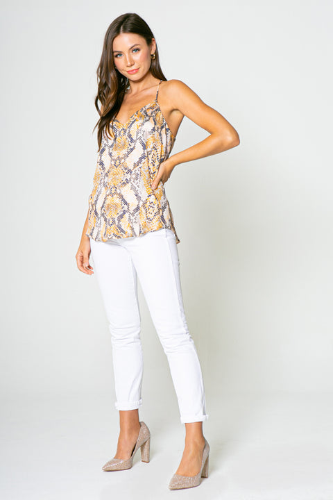ORANGE YELLOW SNAKE PRINTED CAMI-Tops-Lavender Brown