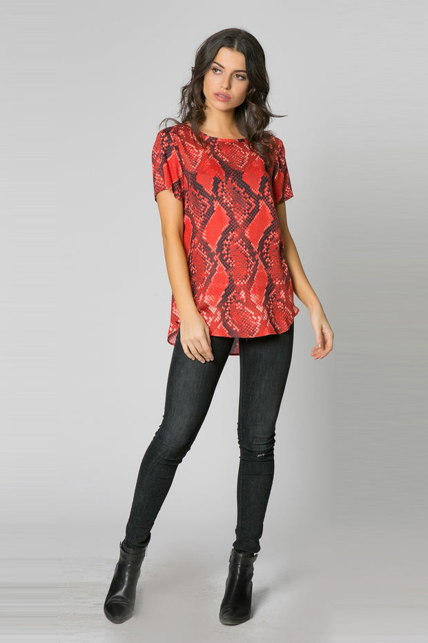 Red Short Sleeve Snake Print Top by Lavender Brown 001