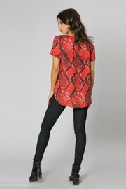 Red Short Sleeve Snake Print Top by Lavender Brown 002
