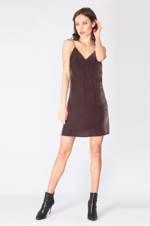 Wood Charcoal Spaghetti Strap Silk Velvet Slip Dress by Lavender Brown 001