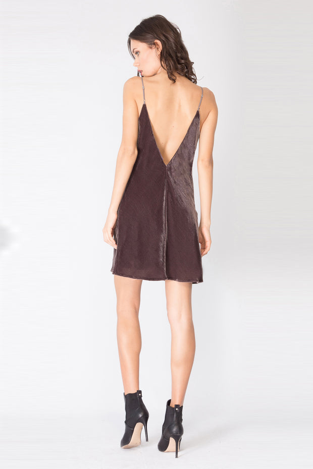 Wood Charcoal Spaghetti Strap Silk Velvet Slip Dress by Lavender Brown 002