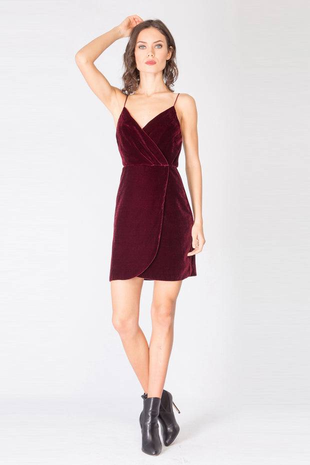 Burgundy Spaghetti Strap Faux Wrap Silk Velvet Dress by Lavender Brown 001