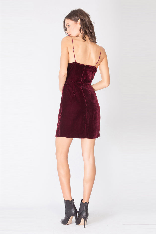 Burgundy Spaghetti Strap Faux Wrap Silk Velvet Dress by Lavender Brown 002