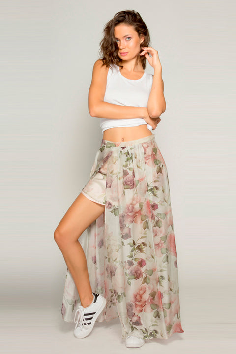 Ivory Floral Asymmetrical Maxi Skirt by Lavender Brown 001